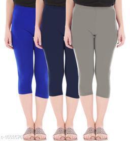 Buy That Trendz Combo Pack of 3 Skinny Fit 3/4 Capris Leggings for Women  Royal Blue Navy Ash