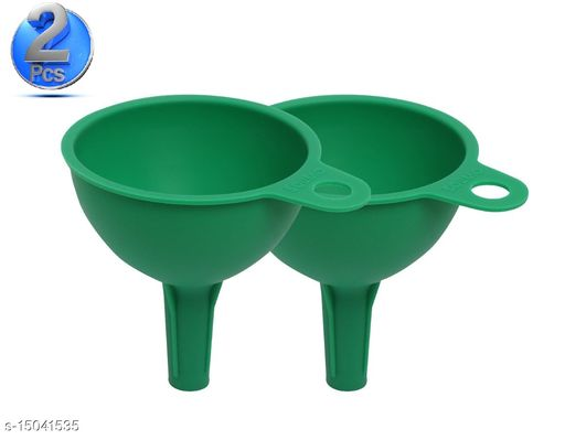 Silicone Rubber Funnel for Kitchen, Set of 2, Green