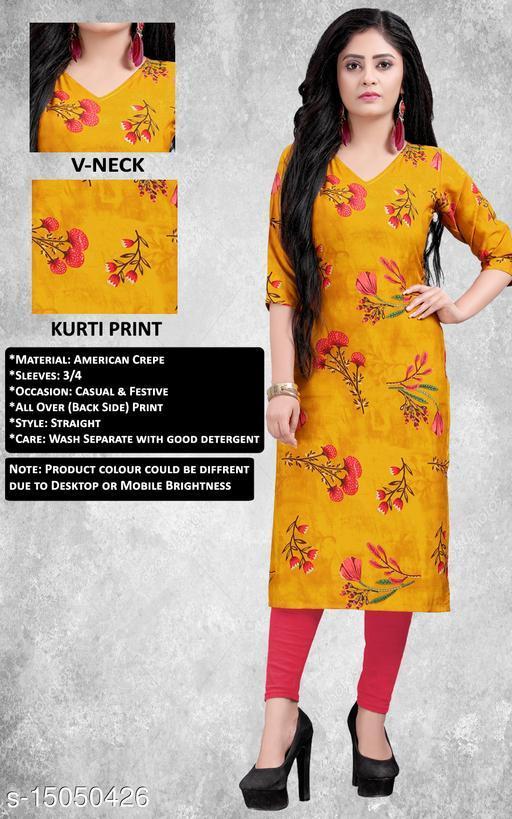Women Crepe Straight Printed Yellow Kurti