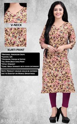 Women's Printed Full-Stitched Crepe Straight Kurti