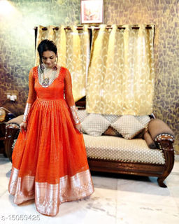 Demanding Fenta Colored Party Wear Woven Pure Organza Gown