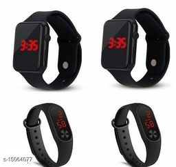 Latest Trendt Trendy Fast Selling Combo-4 Black Apple series-2 & Black M2-2 watches For Age Group 8 to 22 Years Children-kids