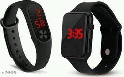 Latest Trendy Fast Selling  Combo-2 Black Apple Series- & Black M2 Wwatches For Age Group 8 to 22 Years Children-Kids