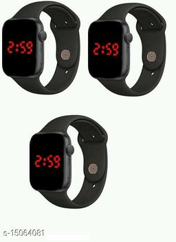 Latest Trendy Fast Selling Combo-3 Black Apple Series Formal Watches For Age Group 8 to 22 Years Children-Kids
