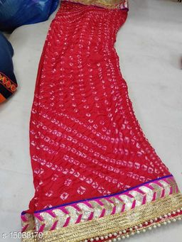 Beautiful Rajasthani Art Silk Printed Heavy Gota Lace Border Work Red color Party Wear, Daily Wear Dupatta for Women's and Girl's