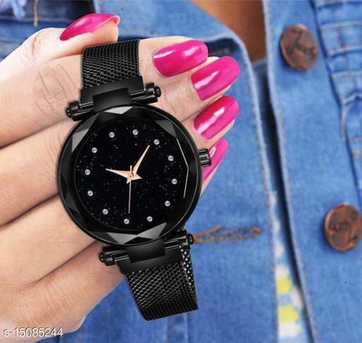 Luxury Mesh Magnet Buckle Starry sky Quartz Watches For girls Fashion Clock Mysterious Black Lady Analog Watch - For Women