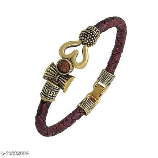 Trendy Unisex Golden Trisul Rudraksha Bracelet