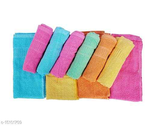 Cotton Plain High Absorbent Hand Towels (Multicolour, Size: 14X21 inch), Set of 4