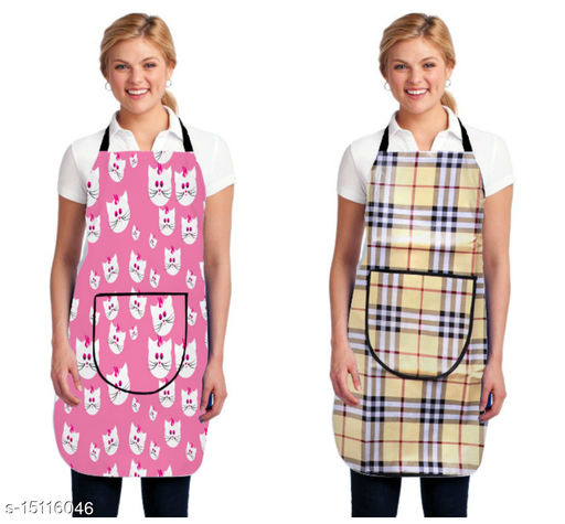 ATTRACTIVE PVC WATERPROOF KITCHEN APRON WITH FRONT POCKET(SET OF 2 PCS)
