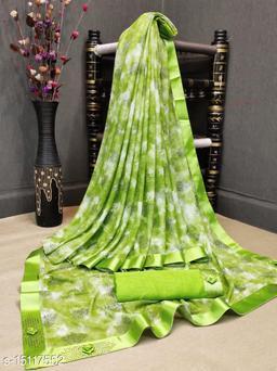 Uzho Enteprise Iconic georgeous linen Blend Printed saree