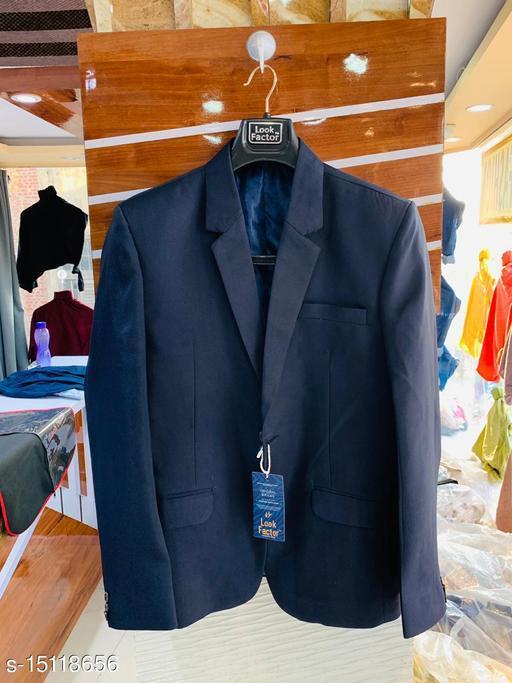 solid single breasted formal full sleeve blazer