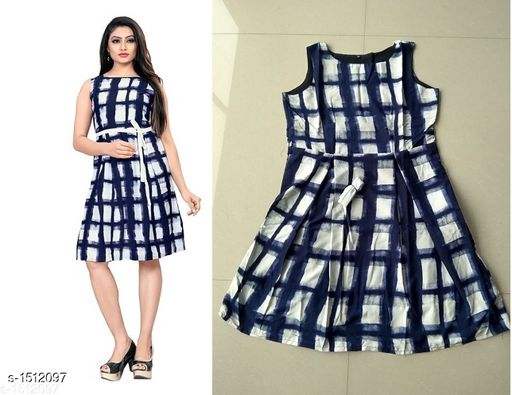 Checked Multicolor Knee length Crepe Dress