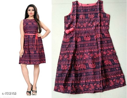 Printed Dark Multicolour Knee length Crepe Dress