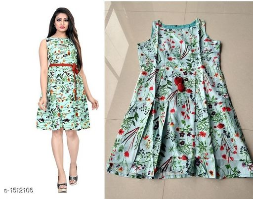 Printed Green Knee length Crepe Dress