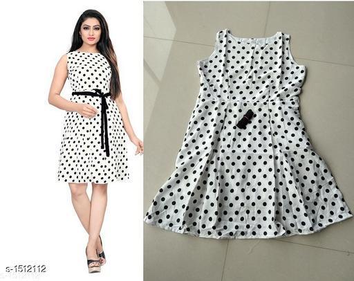 Printed White Knee length Crepe Dress