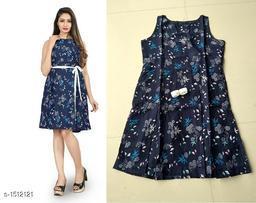 Printed Navy Blue Knee length Crepe Dress