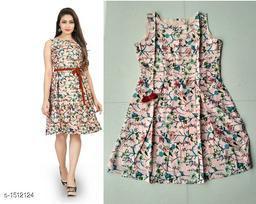 Printed Peach Knee length Crepe Dress
