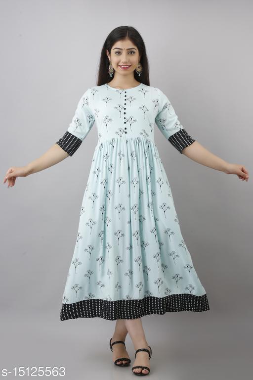 Women's Trendy Flared Long Rayon Kurta
