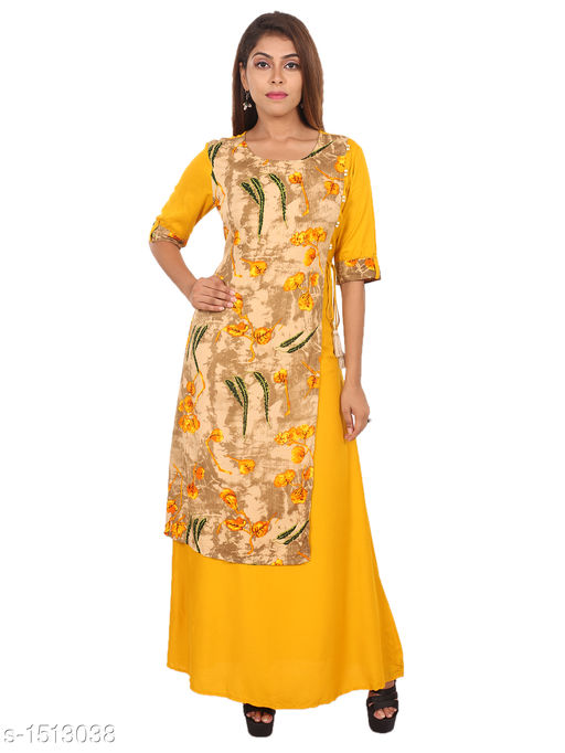 Kurtis & Kurtas Gorgeous Rayon Printed Long Gown Kurti   *Fabric* Rayon  *Sleeves* 3/4 Sleeves Are Included  *Size* M - 38 in, L - 40 in, XL - 42 in, XXL - 44 in  *Length* Up To 48 in  *Type* Stitched  *Description* t Has 1 Piece Of Women's Long Gown Kurti  *Work* Printed  *Sizes Available* M, L, XL, XXL   Supplier Rating: ★4.3 (28) SKU: 01_01 Free shipping is available for this item. Pkt. Weight Range: 300  Catalog Name: Aaryahi Gorgeous Rayon Printed Long Gown Kurtis Vol 1 - SNS Kurtis Code: 955-1513038--
