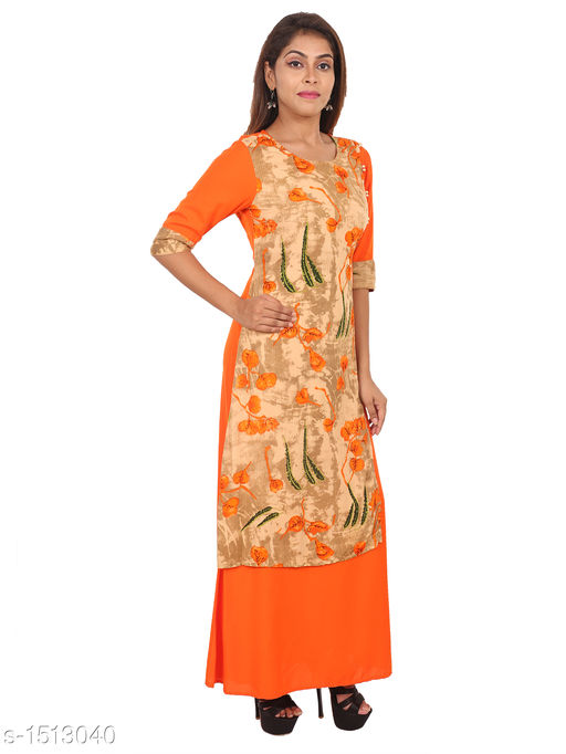 Kurtis & Kurtas Gorgeous Rayon Printed Long Gown Kurti   *Fabric* Rayon  *Sleeves* 3/4 Sleeves Are Included  *Size* M - 38 in, L - 40 in, XL - 42 in, XXL - 44 in  *Length* Up To 48 in  *Type* Stitched  *Description* t Has 1 Piece Of Women's Long Gown Kurti  *Work* Printed  *Sizes Available* M, L, XL, XXL   Supplier Rating: ★4.3 (28) SKU: 02_02 Free shipping is available for this item. Pkt. Weight Range: 300  Catalog Name: Aaryahi Gorgeous Rayon Printed Long Gown Kurtis Vol 1 - SNS Kurtis Code: 955-1513040--