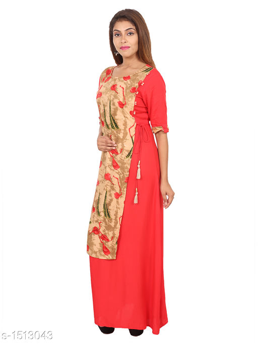 Kurtis & Kurtas Gorgeous Rayon Printed Long Gown Kurti   *Fabric* Rayon  *Sleeves* 3/4 Sleeves Are Included  *Size* M - 38 in, L - 40 in, XL - 42 in, XXL - 44 in  *Length* Up To 48 in  *Type* Stitched  *Description* t Has 1 Piece Of Women's Long Gown Kurti  *Work* Printed  *Sizes Available* M, L, XL, XXL   Supplier Rating: ★4.3 (28) SKU: 03_03 Free shipping is available for this item. Pkt. Weight Range: 300  Catalog Name: Aaryahi Gorgeous Rayon Printed Long Gown Kurtis Vol 1 - SNS Kurtis Code: 955-1513043--