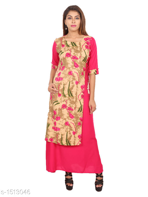 Kurtis & Kurtas Gorgeous Rayon Printed Long Gown Kurti   *Fabric* Rayon  *Sleeves* 3/4 Sleeves Are Included  *Size* M - 38 in, L - 40 in, XL - 42 in, XXL - 44 in  *Length* Up To 48 in  *Type* Stitched  *Description* t Has 1 Piece Of Women's Long Gown Kurti  *Work* Printed  *Sizes Available* M, L, XL, XXL   Supplier Rating: ★4.3 (28) SKU: 04_04 Free shipping is available for this item. Pkt. Weight Range: 300  Catalog Name: Aaryahi Gorgeous Rayon Printed Long Gown Kurtis Vol 1 - SNS Kurtis Code: 955-1513046--