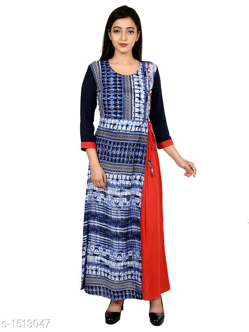 Kurtis & Kurtas Gorgeous Rayon Printed Long Gown Kurti   *Fabric* Rayon  *Sleeves* 3/4 Sleeves Are Included  *Size* M - 38 in, L - 40 in, XL - 42 in, XXL - 44 in  *Length* Up To 48 in  *Type* Stitched  *Description* t Has 1 Piece Of Women's Long Gown Kurti  *Work* Printed  *Sizes Available* M, L, XL, XXL   Supplier Rating: ★4.3 (28) SKU: 05_05 Free shipping is available for this item. Pkt. Weight Range: 300  Catalog Name: Aaryahi Gorgeous Rayon Printed Long Gown Kurtis Vol 1 - SNS Kurtis Code: 955-1513047--
