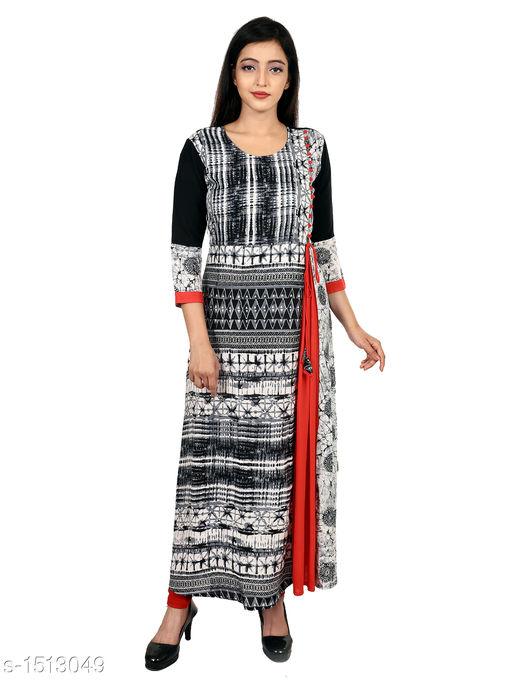 Kurtis & Kurtas Gorgeous Rayon Printed Long Gown Kurti   *Fabric* Rayon  *Sleeves* 3/4 Sleeves Are Included  *Size* M - 38 in, L - 40 in, XL - 42 in, XXL - 44 in  *Length* Up To 48 in  *Type* Stitched  *Description* t Has 1 Piece Of Women's Long Gown Kurti  *Work* Printed  *Sizes Available* M, L, XL, XXL   Supplier Rating: ★4.3 (28) SKU: 06_06 Free shipping is available for this item. Pkt. Weight Range: 300  Catalog Name: Aaryahi Gorgeous Rayon Printed Long Gown Kurtis Vol 1 - SNS Kurtis Code: 955-1513049--