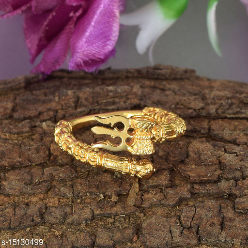 Ln Choice Trishul Damroo Gold Plated Alloy Ring for Men & Women