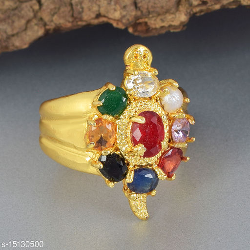 Ln Choice Navratan Meru Adjustable Tortoise Ring for Men and Women for Good Luck