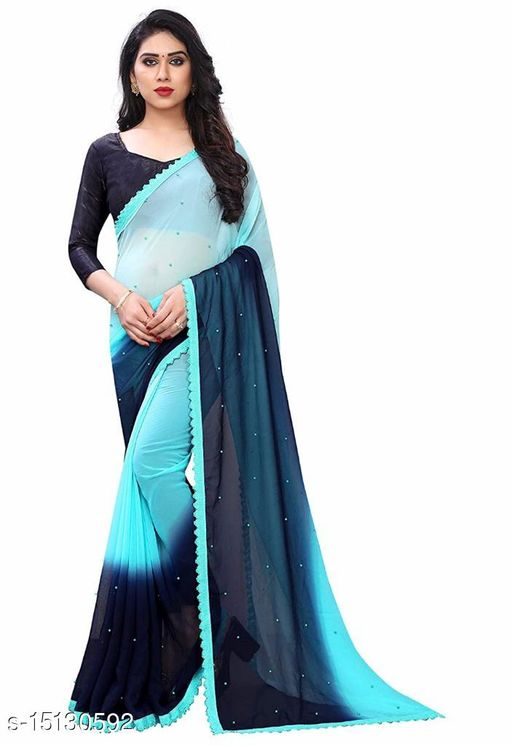 Heer Enterprise Created This Saree Padding Moti Work With Fancy Lace Border color Block Dyed Saree Blue