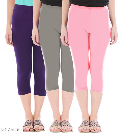 Pure Fashion Combo Pack of 3 Skinny Fit 3/4 Capris Leggings for Women  Purple Ash Baby Pink
