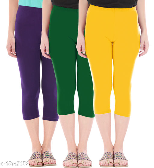 Pure Fashion Combo Pack of 3 Skinny Fit 3/4 Capris Leggings for Women  Purple Bottle Green Golden Yellow