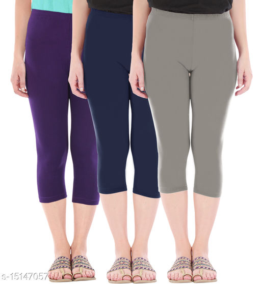 Pure Fashion Combo Pack of 3 Skinny Fit 3/4 Capris Leggings for Women  Purple Navy Ash