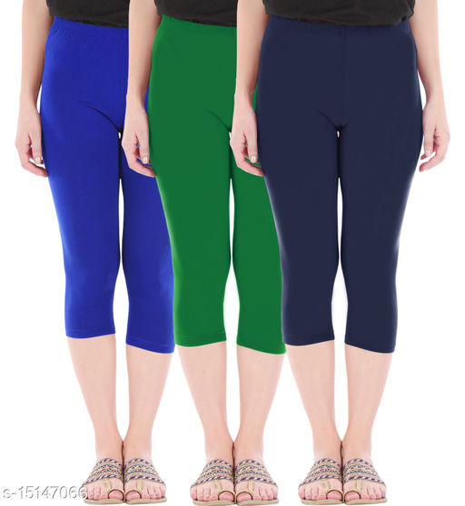 Pure Fashion Combo Pack of 3 Skinny Fit 3/4 Capris Leggings for Women  Royal Blue Jade Green Navy