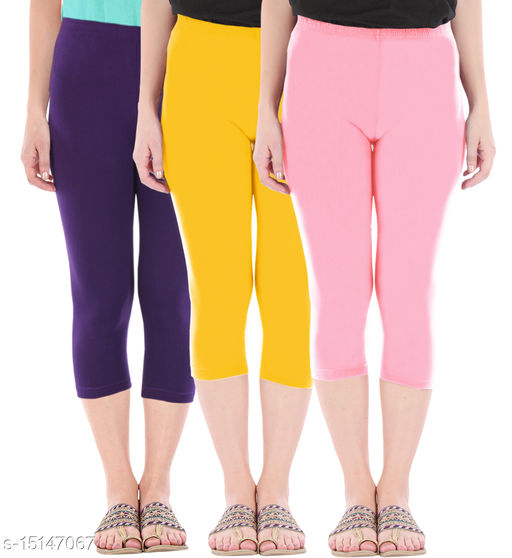 Pure Fashion Combo Pack of 3 Skinny Fit 3/4 Capris Leggings for Women  Purple Golden Yellow Baby Pink