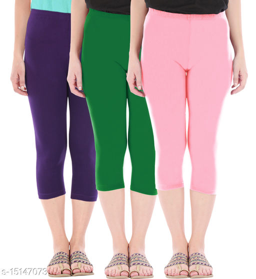 Pure Fashion Combo Pack of 3 Skinny Fit 3/4 Capris Leggings for Women  Purple Jade Green Baby Pink