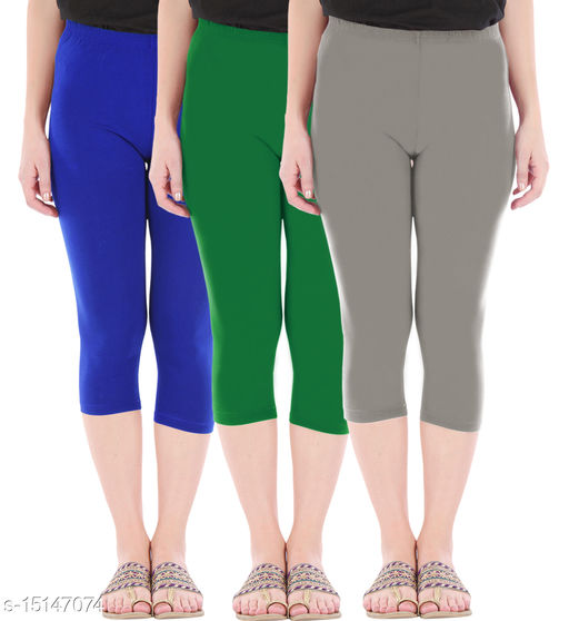 Pure Fashion Combo Pack of 3 Skinny Fit 3/4 Capris Leggings for Women  Royal Blue Jade Green Ash