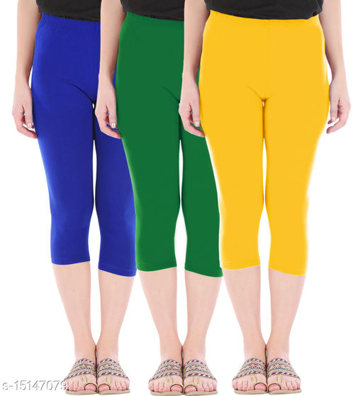 Pure Fashion Combo Pack of 3 Skinny Fit 3/4 Capris Leggings for Women  Royal Blue Jade Green Golden Yellow