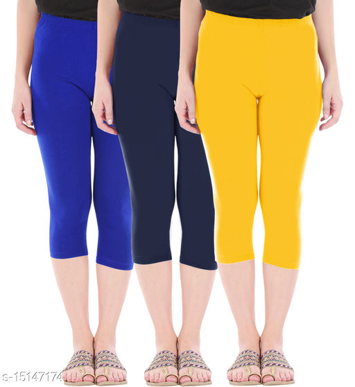 Pure Fashion Combo Pack of 3 Skinny Fit 3/4 Capris Leggings for Women  Royal Blue Navy Golden Yellow