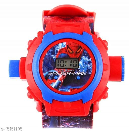 GLOSBY Digital 24 Images Spiderman Projector Watch for Kids, Diwali Gift, Birthday Return Gift (Color May Vary)