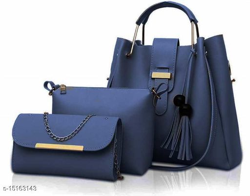 Trendy Women's Pack of 3 Blue PU Handbag set