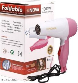 1000 Watts A Foldable Best Quality Nova Branded Hair Dryer For Women N Boys, 2 Heat (Hot/Warm) Settings With Good Quality(blue/pink)
