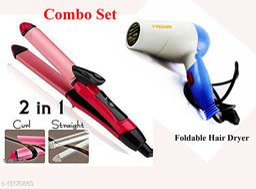 Combo offer set- Nova Premium Advanced straightener in best quality Curler for curling iron & Foldable 1000 watts blow hair dryer for unisex