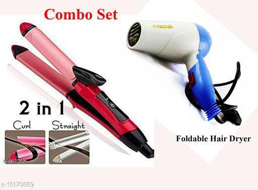 Combo- Premium Advanced Straightner Curler & Foldable hair dryer