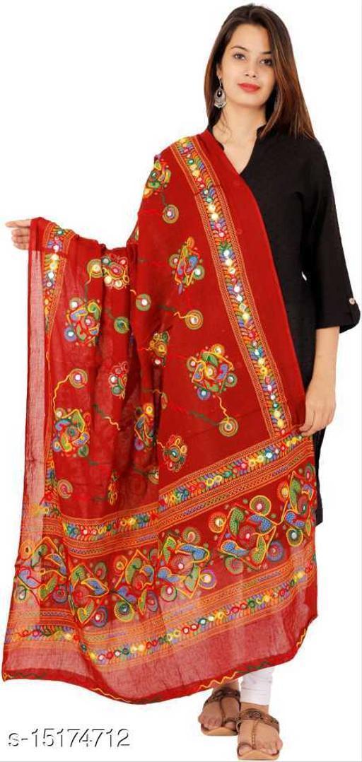 Cotton Blend Embroidered MAROON Women Dupatta