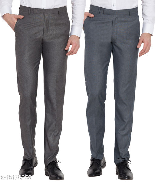 Cliths Men's Formal Trouser Combo of 2 /Cotton Rayon Slim Fit Formal Pants -Black, Blue