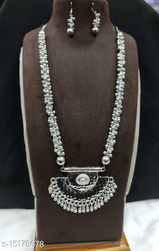 CARANS long german silver oxidised beads mala, 1 necklace and 1 pair of earring