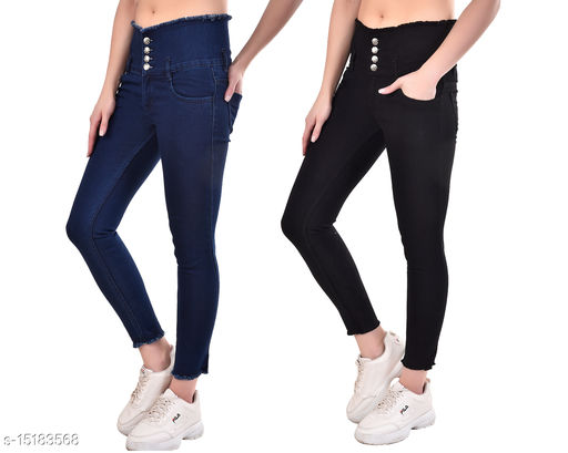Ansh Fashion Wear Women's Skin Fit Daily Wear Stretchable Denim Jeans Pack of 2