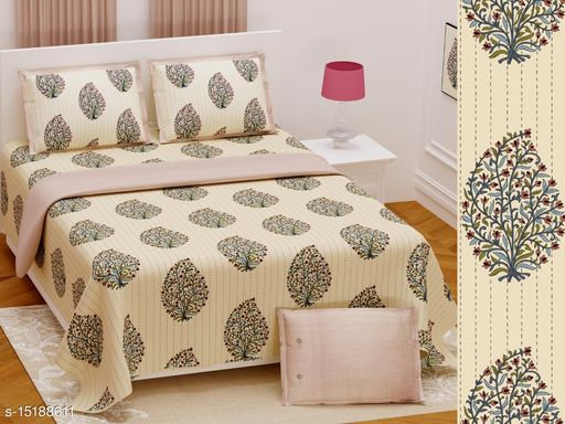 Hand Work Design Printed 108 By 108 Bedsheet With 2 Pillow Covers